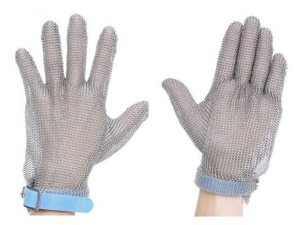 MK5301 Ring Mesh Gloves with Silicone Rubber Strap Full Hand Protection